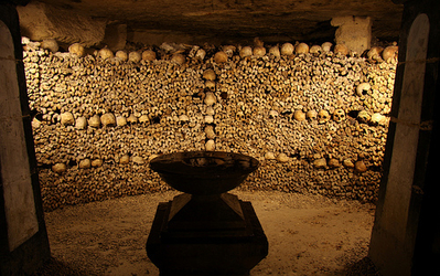catacombs. Paris. Bones.