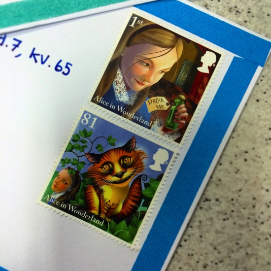 Postcard. Letter. Stamp. Alice in Wonderland.
