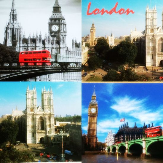 Postcard. London. Big Ben. London Eye. Westminster Abbey.