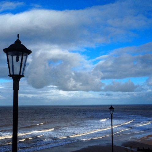 Lamposts at Cromer Beach in the Winter Sun
