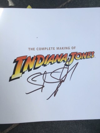 Aimie's Indiana Jones Book signed by Steven Spielberg